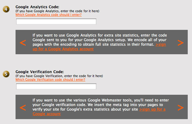 SiteWelder Help: Search Central - Google Analytics and
